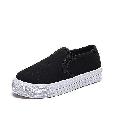 91847803c61a Platform Canvas Sneakers Wedge Platform Sneakers for Women Hidden Heel Loafers  Canvas Shoes-(Black