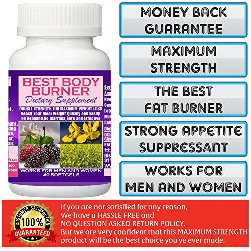 Best Body Burner Slimming Capsules. Maximum Weight Loss Pill. 60 Days Money Back Guarantee!, 40 Softgels