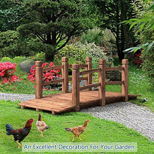 (Alek...Shop Landscape Garden Structure Walkway Decorative Outdoor Backyard Solid Wooden Arch Bridge 5 Feet. Stream Courtyard Pond)