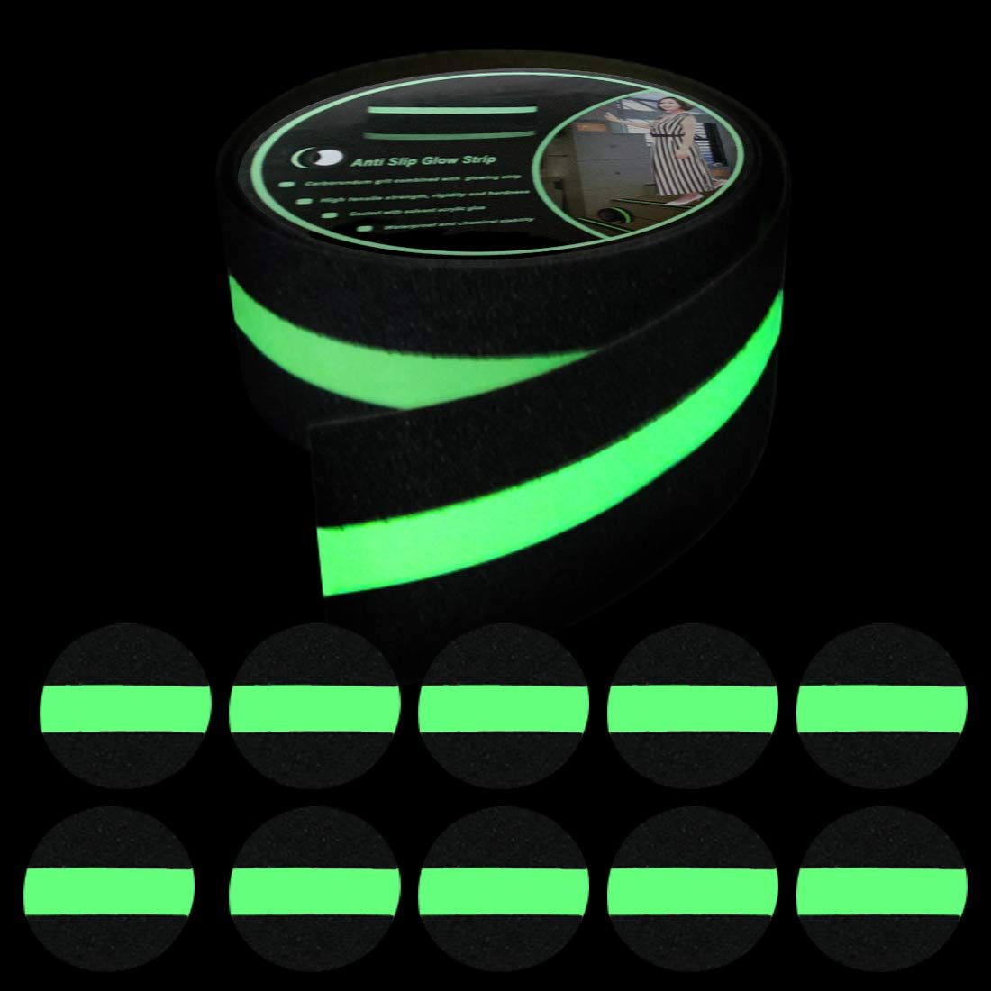EONBON Anti Slip Glow in The Dark Tape 2 Inch x 14 Feet Anti Slip Traction Tape with 10 Non Slip Glow in The Dark Tape Dots for Stairs Tread Step Indoor Outdoor Use