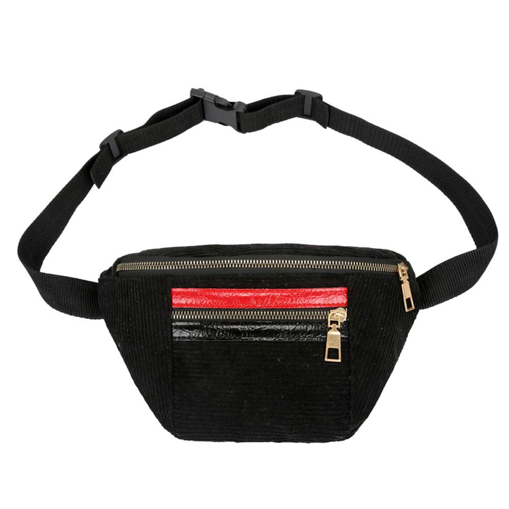 Crossbody Bags Dream Room Fashion Women Girl Hit Color Zipper Corduroy Messenger Bag Chest Bag Waist Bag Black