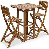vidaXL 3PC Acacia Wood Outdoor Furniture Bar Set Table Folding Stools Chairs