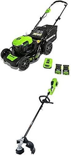 Greenworks 21-Inch 40V Brushless Cordless Mower with 14-Inch 40V Cordless String Trimmer Attachment Capable Battery Not Include