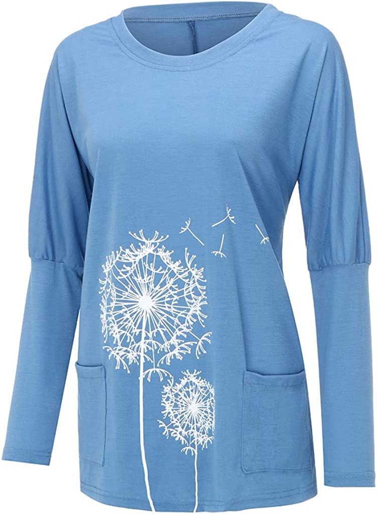 Houshelp Women V Neck Pullover Loose Sweatshirt Hoodies Sweater Knitted Jumper Dandelion Print Sweatshirts Blouse Tops