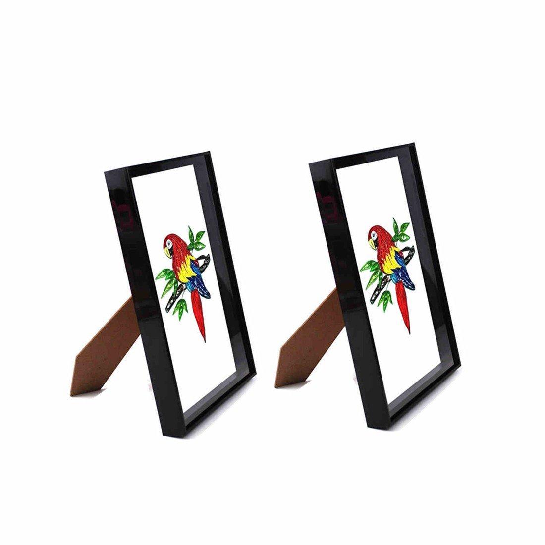 YURROAD A4 Photo Frame for Paper Quilling Crafts Handmade Artworks Display on Desktop or Hang (Black,2 Pack) ...