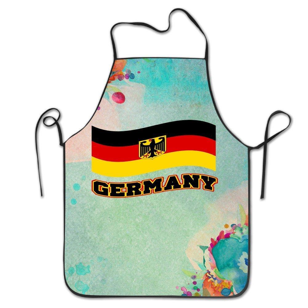 YUANDAN Funnyエプロンシェフキッチン料理エプロンよだれかけ揺れる旗ドイツDeutschland Pride Grilling Easy Care   B07CG4GG82