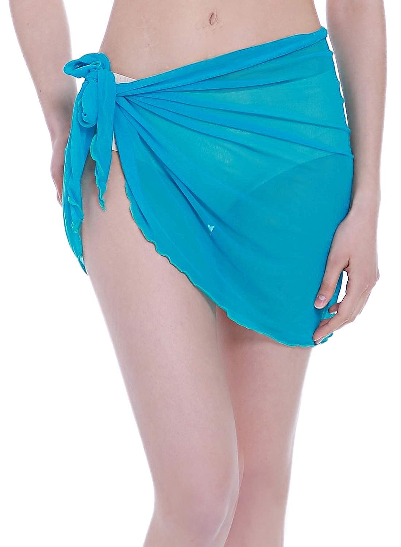 ChinFun Womens Mesh Beach Sarong Waist Wrap Bikini Sheer Cover up Pareo Canga Swimsuit Mini//Short//Long Skirts