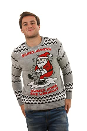 Rude Christmas Jumpers Santa Always Comes Knitted Christmas Jumper