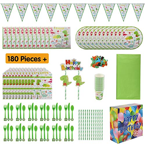 Dinosaur Party Supplies for Boys | Birthday Party Favors for Kids | Dino Themed Party Decoration Set Serves 12 Includes Tablecloth Bunting Flatware Plates Napkins Cups Straws Invitations with Gift -