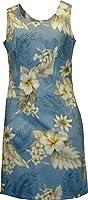 Pacific Legend Women's Plumeria Hibiscus Feather Fern Hawaiian Aloha Dress