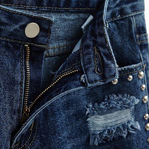 Vintage en Femme Denim Taille Haute Bleu Dechir Rtro Shorts Oudan Asymtrique EqfXpCwX