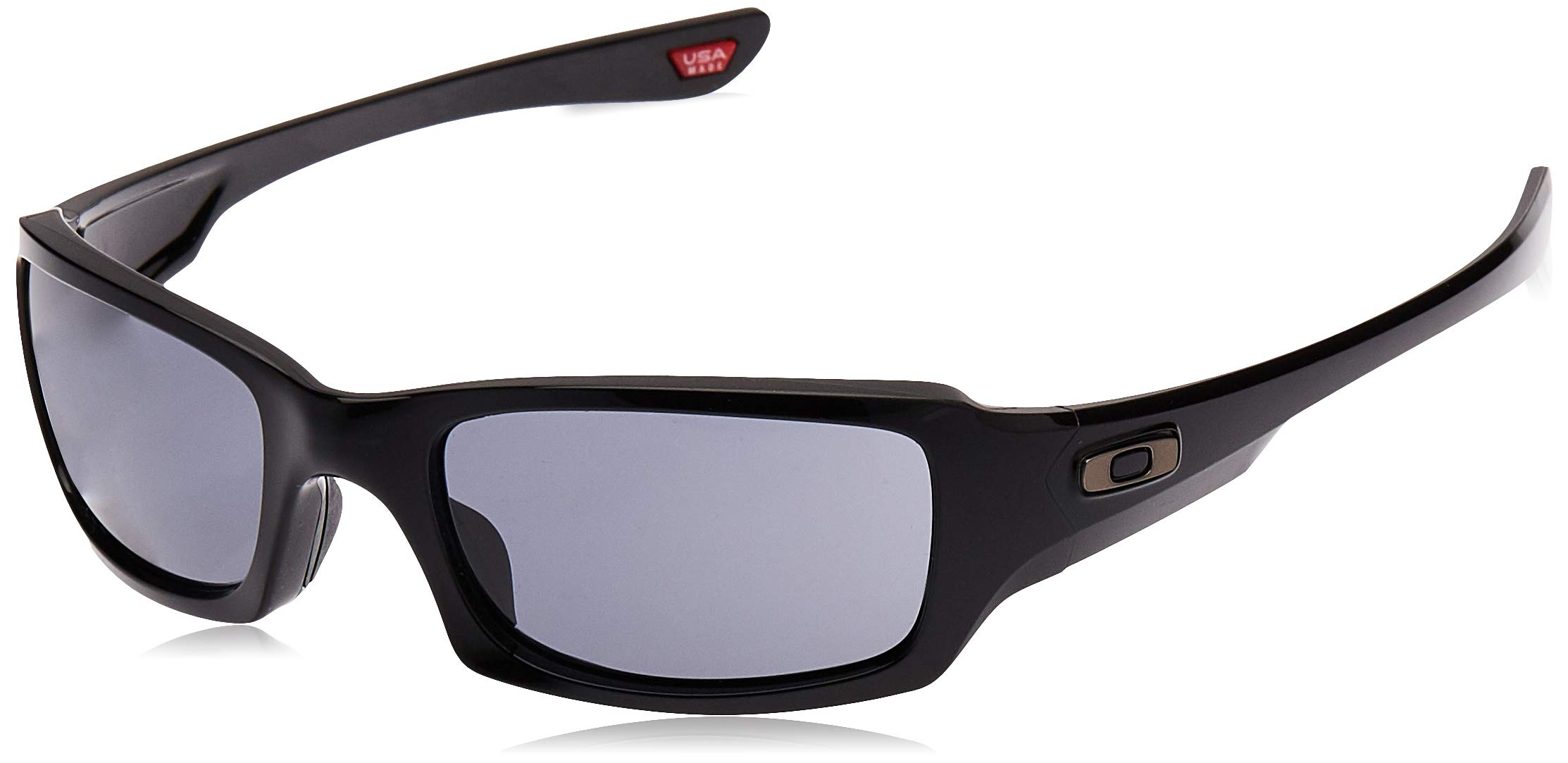 Oakley Men's OO9238 Fives Squared Rectangular Sunglasses, Polished Black/Grey, 54 mm by Oakley