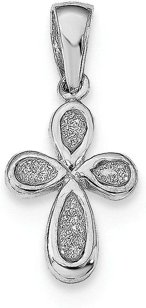 Sterling Silver Rhodium-plated Enamel /& Glitter Fabric Cross Pendant