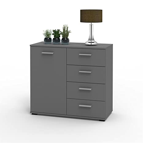 Caro Mobel Kommode Sideboard Schrank Chicago In Grau Mit Tur Und 4 Schubladen Highboard