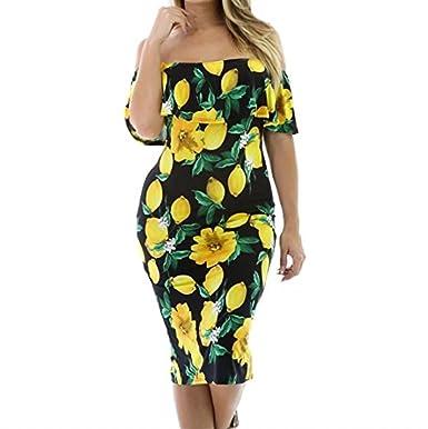 346637f614794 DAMAIJ Women's Floral Lemon Ruffle Off Shoulder Party Sexy Bodycon Dress  Midi Summer Dresses - Multi