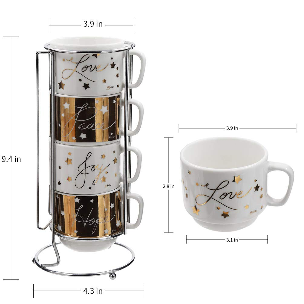 Set of 4 NINGBO CHANG QING HOME DECOR CO LTD Ceramic Stacked Caf/é Coffee Cups with K-Cup Holder 6oz