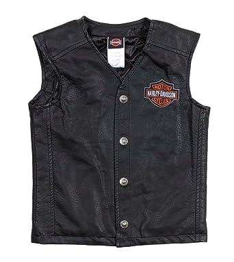 071b9226 Harley-Davidson Little Boys' Bar & Shield PU Pleather Biker Vest 0276072 (2T