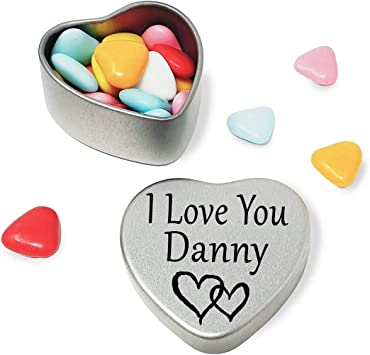 I Love You Danny Mini Heart Tin Gift For I Heart Danny With Chocolates or Mints