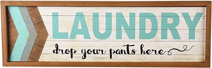"NIKKY HOME Decorative Wood Framed Wall Plaque Laundry Sign""Drop your pants here"", Blue"