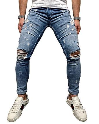 Herren Shredded Stretch Jeanshosen Kaiki Herren Slim Fit
