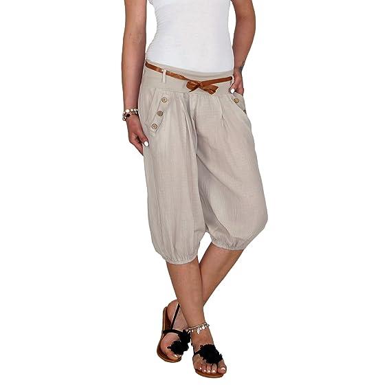 f2360bc4c9 Dresscode-Berlin DB Leichte Damen Baumwoll Sommer Caprihose mit  Kunstledergürtel in schwarz, beige und taupebraun (One Size, Beige):  Amazon.de: Bekleidung