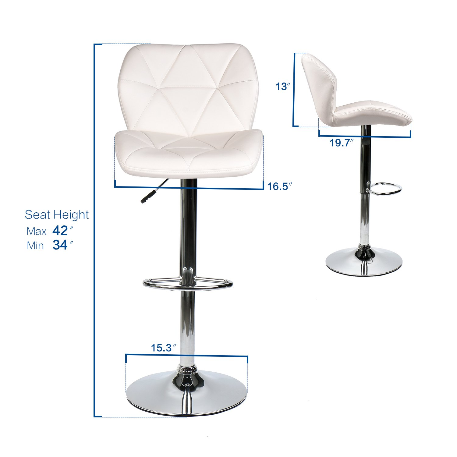 Pub Table Set 3 Piece – 24 inch Round Table with 2 Leatherette Chairs – Height Adjustable White Barstools Marble Stripe Pub Table