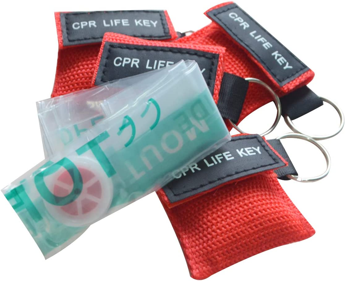 100pcs/lot Red CPR Barrier with Keychain CPR Face Shield for AED First Aid: Health & Personal Care