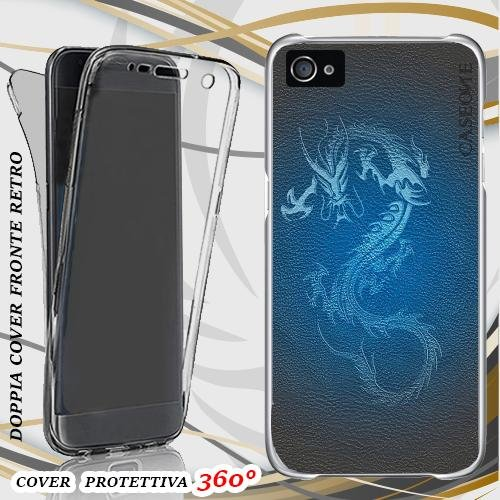CUSTODIA COVER CASE LEATHER DRAGON PER IPHONE 5 FRONT BACK