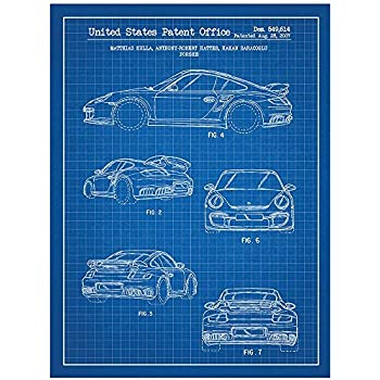 Inked and Screened SP_AUTO_549,614_BG_24_W Automobiles Et Al Porsche 911 Turbo-Matthias Kulla Print, Blue Grid-White Ink, 18