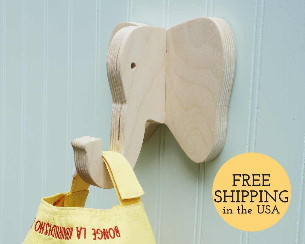 Elephant wall hook crafted from birch plywood