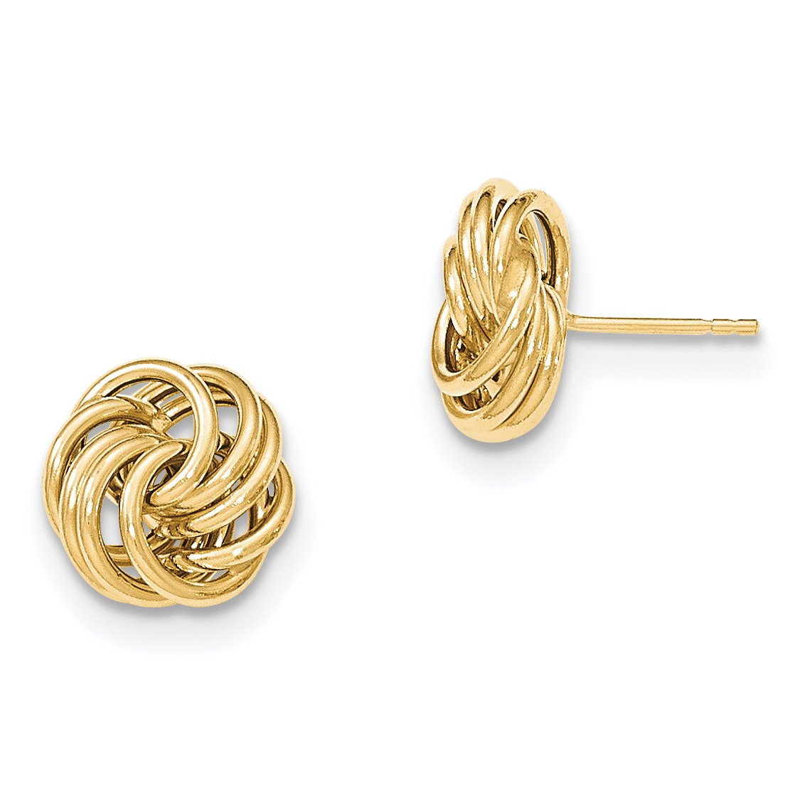 ICE CARATS 14k Yellow Gold Post Stud Ball Button Earrings Fine Jewelry Gift Set For Women Heart