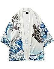 LifeHe Men's Japan Crane Kimono Cardigan Casual Cotton Linen Flying Fish Open Front Coat