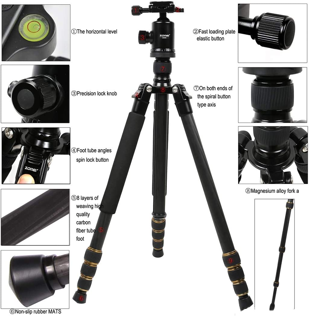Carbon Fiber Camera Tripods Lightweight Travel Case with 360 Degree Ball Head Compact for Cameras and DSLR Quick Release Plate Detachable Monopod Carry Bag for Travel /& Work