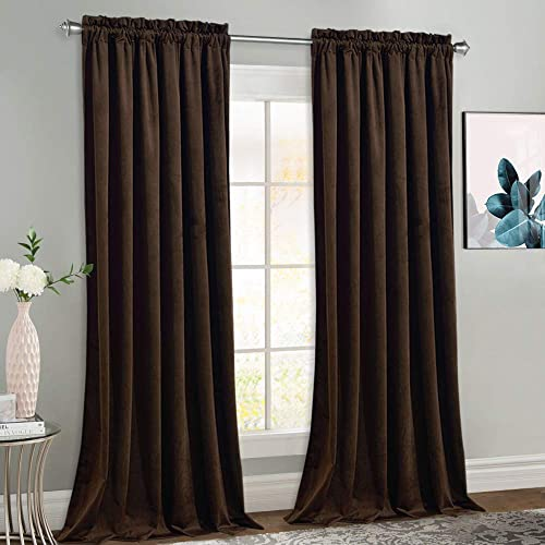 NICETOWN Brown Velvet Curtain