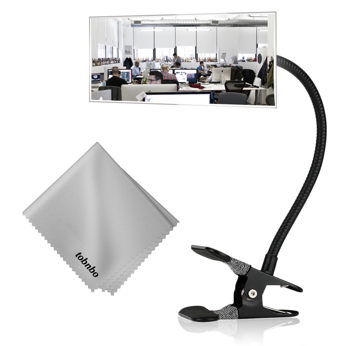 """Office Cubicle Clip on Mirror, 7.28'' Rear View Computer/Laptop Safety Mirror, Desk Convex Mirror for Personal Safety & Security Portable Cabinet Rearview Monitors(Rectangle Mirror 7.28"""", Black)"""
