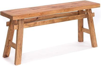 Panca da cucina in legno riciclato in legno naturale 118 x 27,5 x 53 cm L x P x A