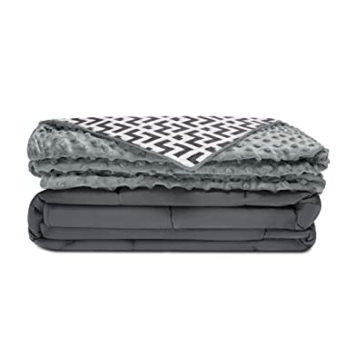 Quility Premium Adult Weighted Blanket & Removable Cover | 20 lbs | 60 x80  | for Individual Between 190-240 lbs | Full Size Bed | Premium Glass Beads | Cotton/Minky | Grey/Chevron Print