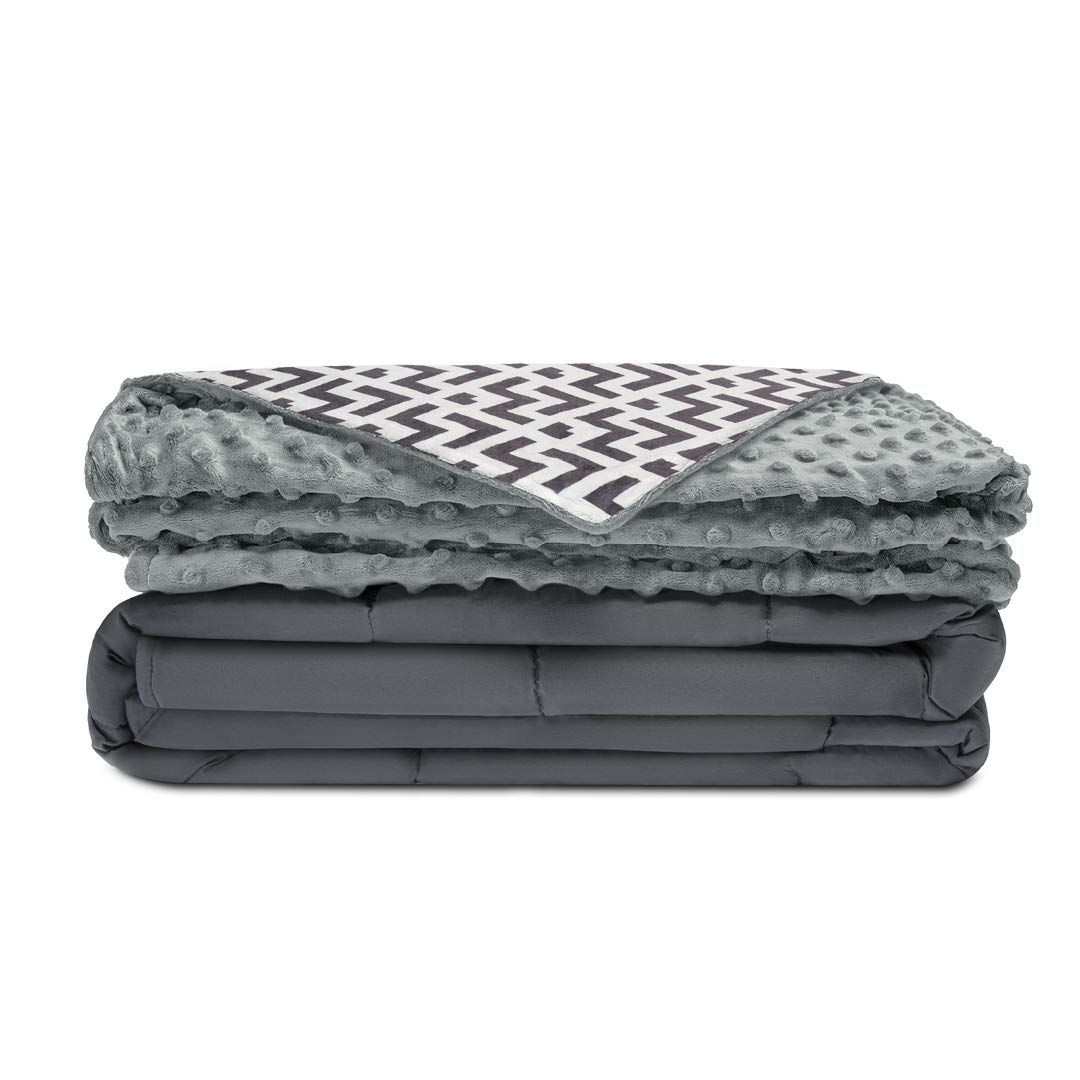 Quility Premium Kids Weighted Blanket & Removable Cover | 05 lbs | 36''x48'' | for a Child Between 40-70 lbs | Single Size Bed | Premium Glass Beads | Cotton/Minky | Grey/Chevron Print