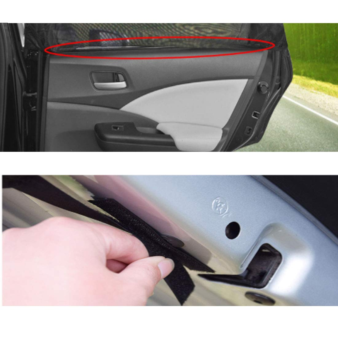 43.3 x 31.5 x20 inches(Stretching) 43.3 x 31.5 x20 inches/(Stretching/) AMOUTOR Car Window Shade Set of 2 Car Sun Shade Baby Kid Pet Breathable Mesh Backseat Fits for Back Windows of Most Car