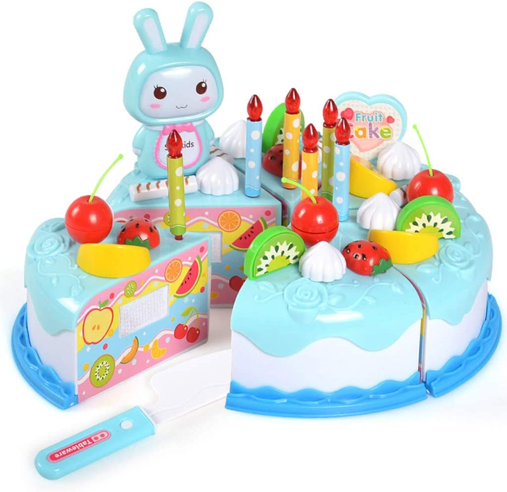 Fantastic Yhdcc44 37Pcs Realistic Birthday Cake Toy Diy Cutting Fruit Funny Birthday Cards Online Overcheapnameinfo