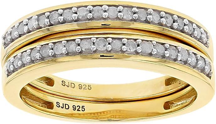 Jtv Diamond Rings >> Amazon Com Jtv White Diamond 14k Yellow Gold Over Sterling
