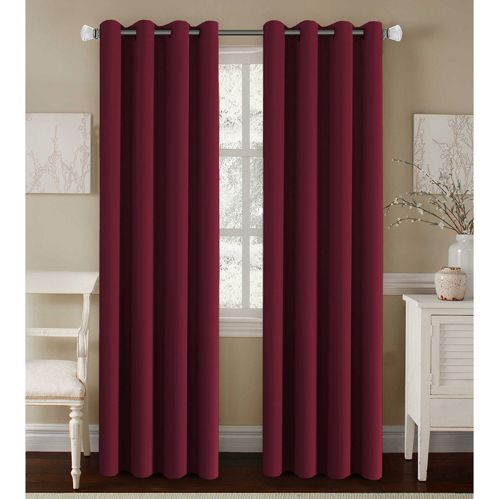 H.Versailtex Untra Sleep Well Microfiber Blackout Thermal Insulated Grommet 2 Panels,Energy Efficient Window Curtains / Drapes Burgundy