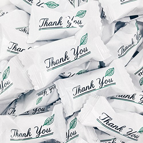 Buttermints - 13 oz. Bag - Approximately 100 Individually Wrapped Mints (Thank you) (Wrapped Printed Mints)