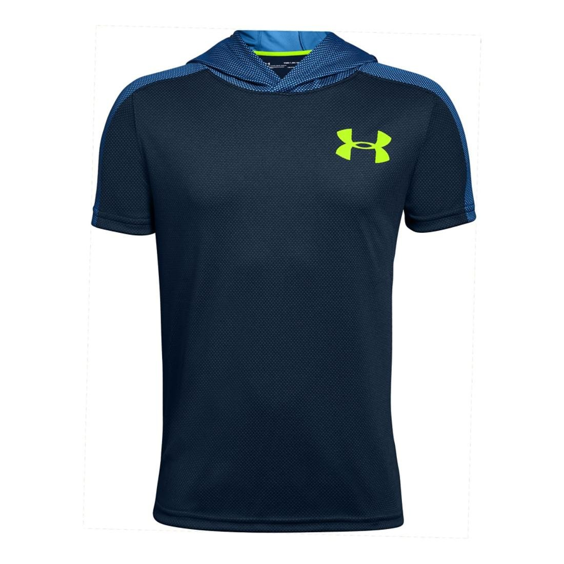 Under Armour Boys Textured Tech Short Sleeve Hood, Mediterranean/Yellow, YL by Under Armour