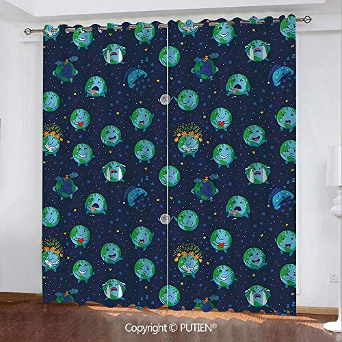 Satin Grommet Window Curtains Drapes [ Emoji,Planet Earth as Smiley Angry Happy Sad Cheerful Faces Expressions and Star Backdrop,Multicolor ] Window Curtain for Living Room Bedroom Dorm Room Classroom