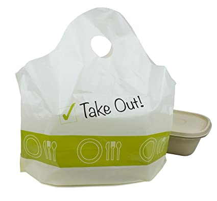 "e843ba6b97ad 500 pc ""Take Out!"" Plastic Carry-Out, To Go Shopping Bags"