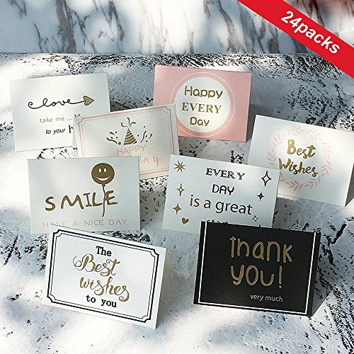 Postcard Note Card - QMAY Thank You Cards - 24 Gold Foil Note Cards Bulk - Postcard Style Thank You Card of 8 Designs - Blank on The Inside, Simple Style - Includes 24 Thank You Cards 24 Envelopes and 24 Stickers