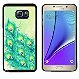 Galaxy Note 5 Case, Laser Technology for Protective Samsung Galaxy Note 5 Case Black DOO UC (TM) - Watercolor painting beautiful peacock tail feathers
