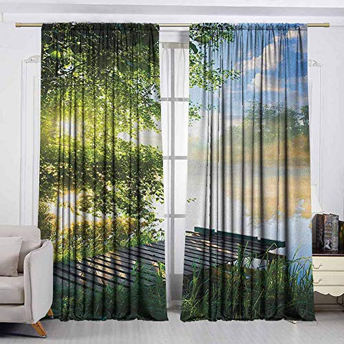 Matte Black Finials Clouds - VIVIDX Thermal Insulated Blackout Curtains,Landscape,Fishing Pier by River in The Morning with Clouds and Trees Nature Image,Energy Efficient, Room Darkening,W72x72L Inches Green Blue White