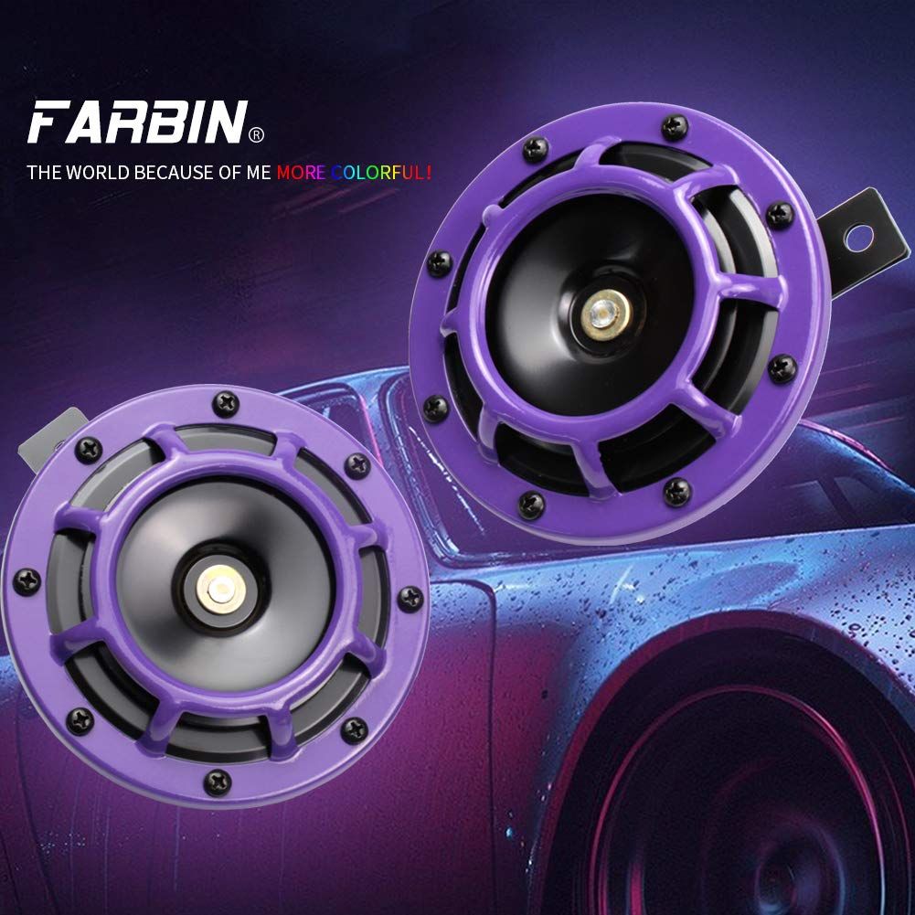FARBIN Eletric Car Horn Super Tone 12V High Tone//Low Tone Metal Twin Horn Kit with Protective Grill Yellow